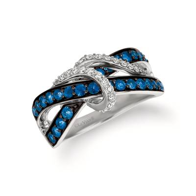 14K Vanilla Gold® Blueberry Sapphire™ 1 cts. Ring with Vanilla Diamonds® 1/5 cts. | YQZG 22